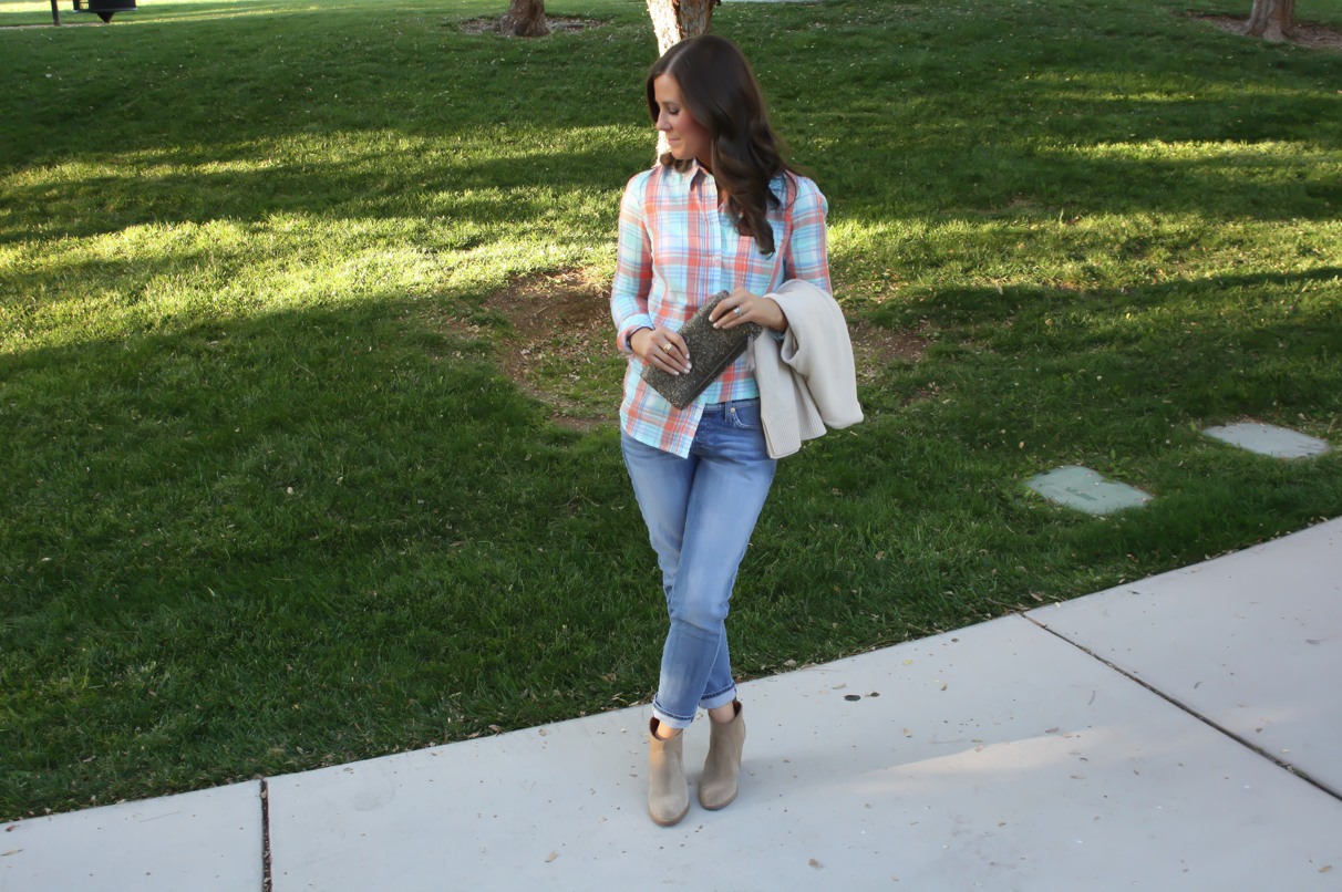 Fall Plaid: Mint and Coral + Celine Luggage (…again!)