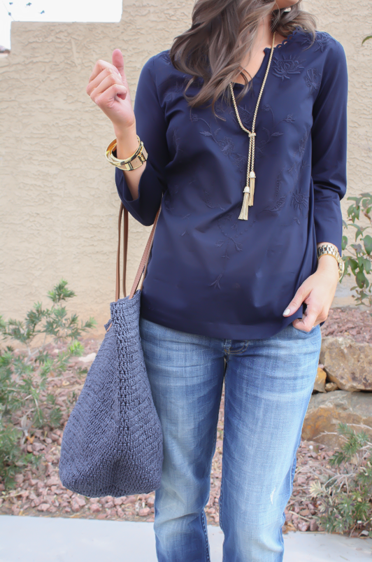 Embroidered Navy + A Market Tote