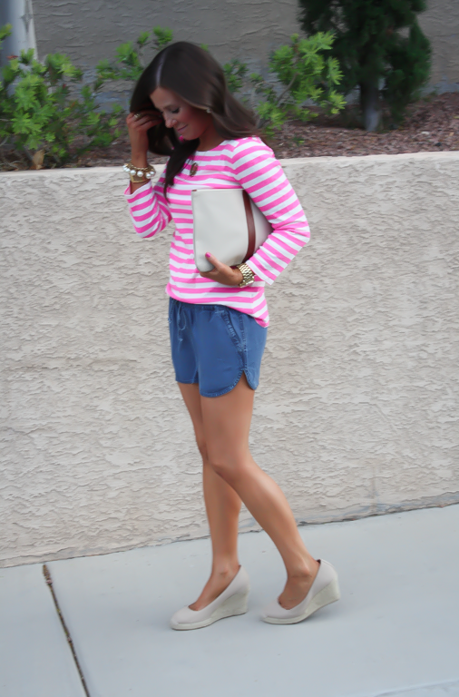 Chambray Shorts, Pink Striped Tee, Casual Style, Michael Kors, J.Crew, Madewell, Pearl Jewerly