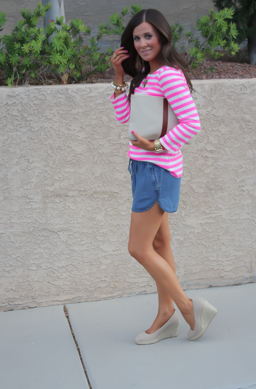 Chambray Shorts, Pink Striped Tee, Casual Style, Michael Kors, J.Crew, Madewell, Pearl Jewerly  2