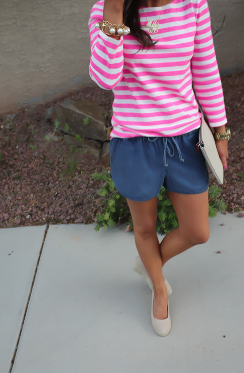 Chambray Shorts, Pink Striped Tee, Casual Style, Michael Kors, J.Crew, Madewell, Pearl Jewerly  9