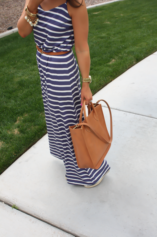 Gap Striped Maxi Dress, Blue Stripes, Summer, Madewell Tote 10