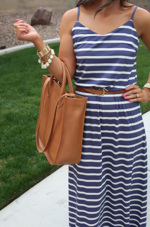 Gap Striped Maxi Dress, Blue Stripes, Summer, Madewell Tote 11