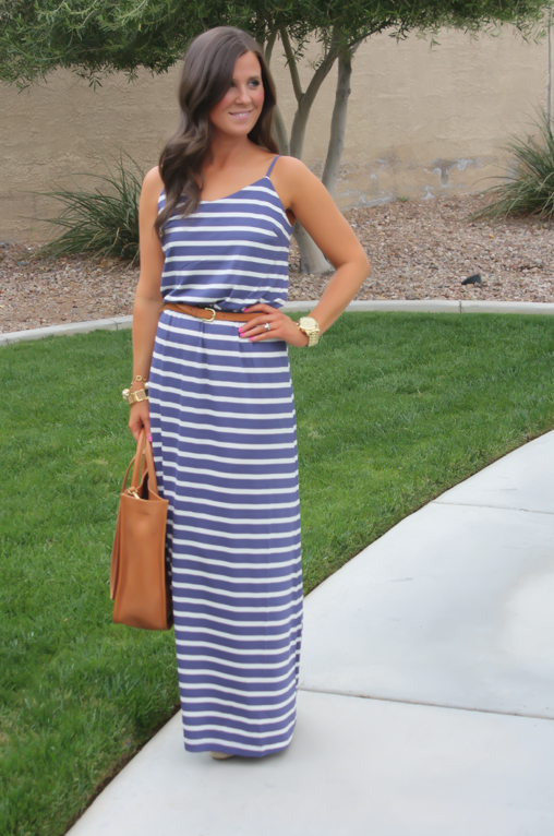 Gap Striped Maxi Dress, Blue Stripes, Summer, Madewell Tote 2