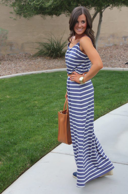 Gap Striped Maxi Dress, Blue Stripes, Summer, Madewell Tote 5