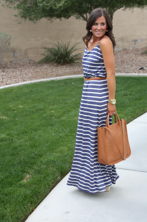 Gap Striped Maxi Dress, Blue Stripes, Summer, Madewell Tote
