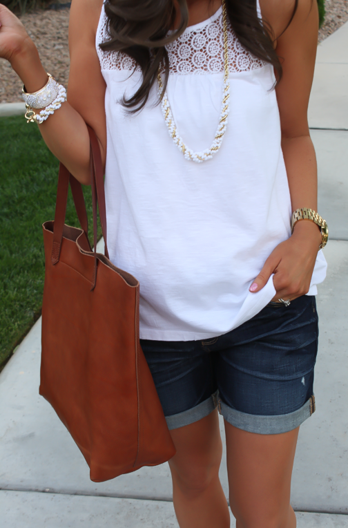 J.Crew Pink Espadrilles, Gap Sexy Boyfriend Shorts, White Necklace, White Bracelet, Madewell Tote 14