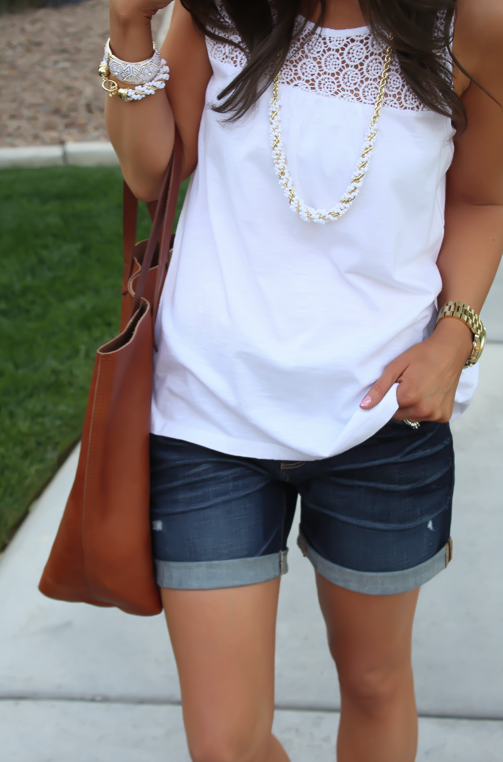 J.Crew Pink Espadrilles, Gap Sexy Boyfriend Shorts, White Necklace, White Bracelet, Madewell Tote 18