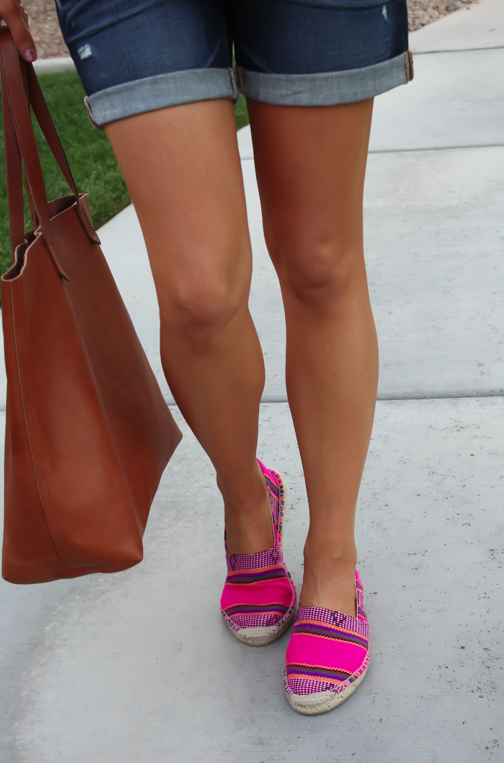 J.Crew Pink Espadrilles, Gap Sexy Boyfriend Shorts, White Necklace, White Bracelet, Madewell Tote 21