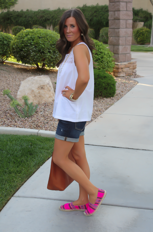 J.Crew Pink Espadrilles, Gap Sexy Boyfriend Shorts, White Necklace, White Bracelet, Madewell Tote 25