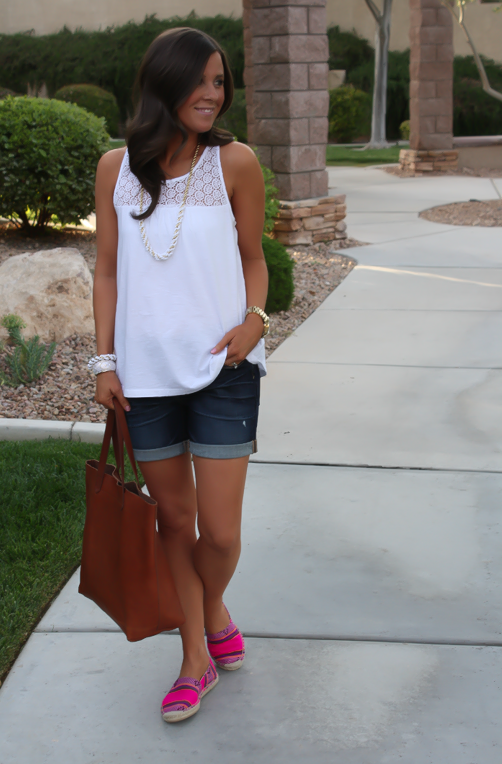 J.Crew Pink Espadrilles, Gap Sexy Boyfriend Shorts, White Necklace, White Bracelet, Madewell Tote 5
