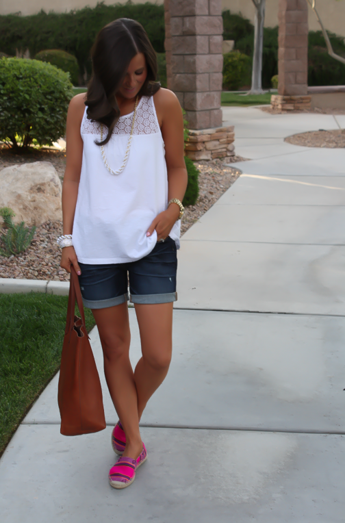 J.Crew Pink Espadrilles, Gap Sexy Boyfriend Shorts, White Necklace, White Bracelet, Madewell Tote 6