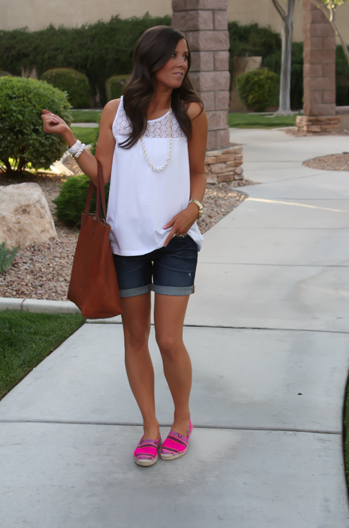 J.Crew Pink Espadrilles, Gap Sexy Boyfriend Shorts, White Necklace, White Bracelet, Madewell Tote