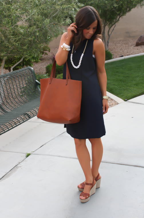 Navy Dress, White Jewels, Cognac Tote, Madewell, Banana Republic, Old Navy 13