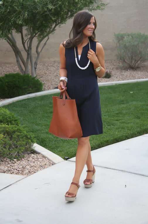 Navy Dress, White Jewels, Cognac Tote, Madewell, Banana Republic, Old Navy 16