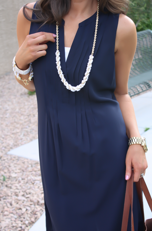 Navy Dress, White Jewels, Cognac Tote, Madewell, Banana Republic, Old Navy 20