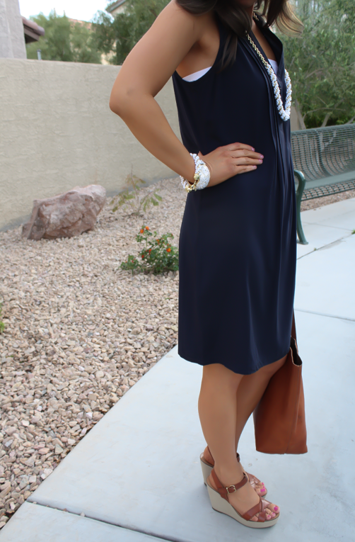 Navy Dress, White Jewels, Cognac Tote, Madewell, Banana Republic, Old Navy 25