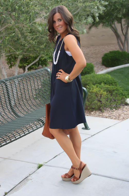 Navy Dress, White Jewels, Cognac Tote, Madewell, Banana Republic, Old Navy 27