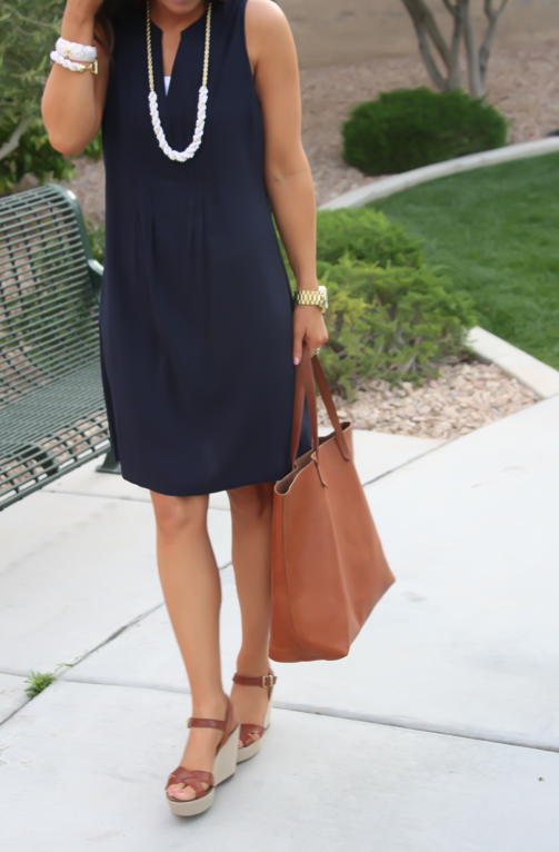 Navy Dress, White Jewels, Cognac Tote, Madewell, Banana Republic, Old Navy 6