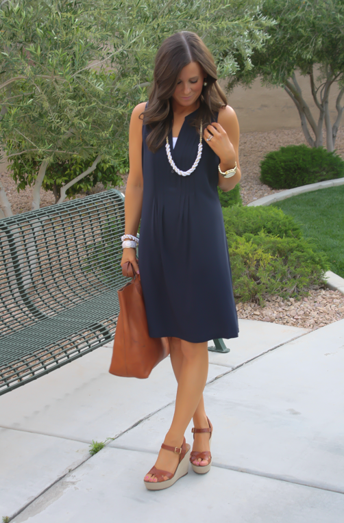 Navy Dress, White Jewels, Cognac Tote, Madewell, Banana Republic, Old Navy
