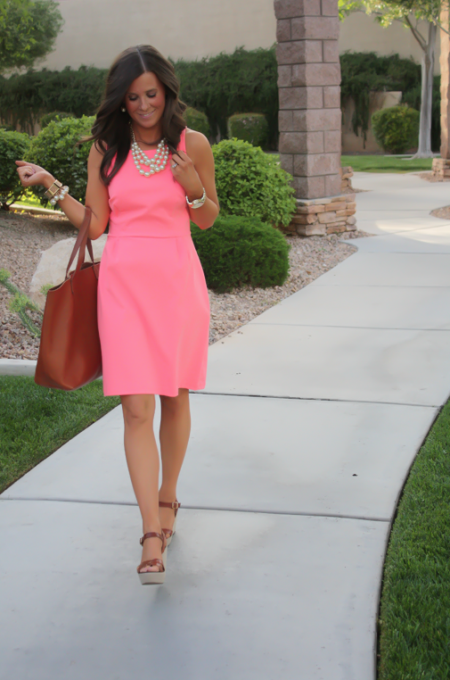 Peach Ponte Knit Dress, Wedge Sandals, Cognac Tote, Gold Jewelry, Pearl Necklace, J.Crew, Madewell, Old Navy 17