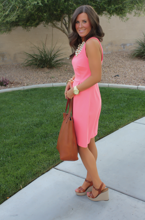 Peach Ponte Knit Dress, Wedge Sandals, Cognac Tote, Gold Jewelry, Pearl Necklace, J.Crew, Madewell, Old Navy 2
