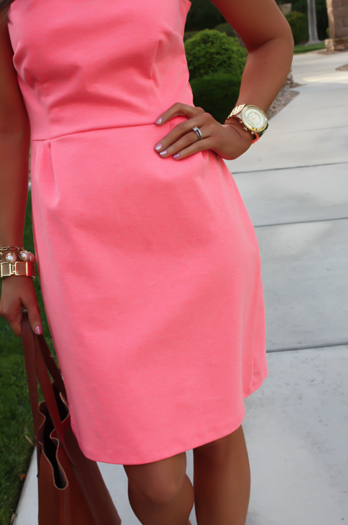 Peach Ponte Knit Dress, Wedge Sandals, Cognac Tote, Gold Jewelry, Pearl Necklace, J.Crew, Madewell, Old Navy 22