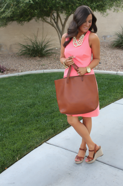 Peach Ponte Knit Dress, Wedge Sandals, Cognac Tote, Gold Jewelry, Pearl Necklace, J.Crew, Madewell, Old Navy 5