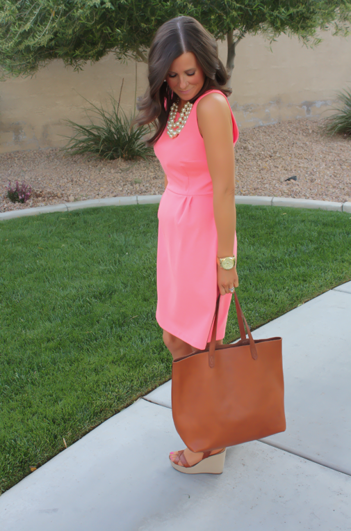 Peach Ponte Knit Dress, Wedge Sandals, Cognac Tote, Gold Jewelry, Pearl Necklace, J.Crew, Madewell, Old Navy 8