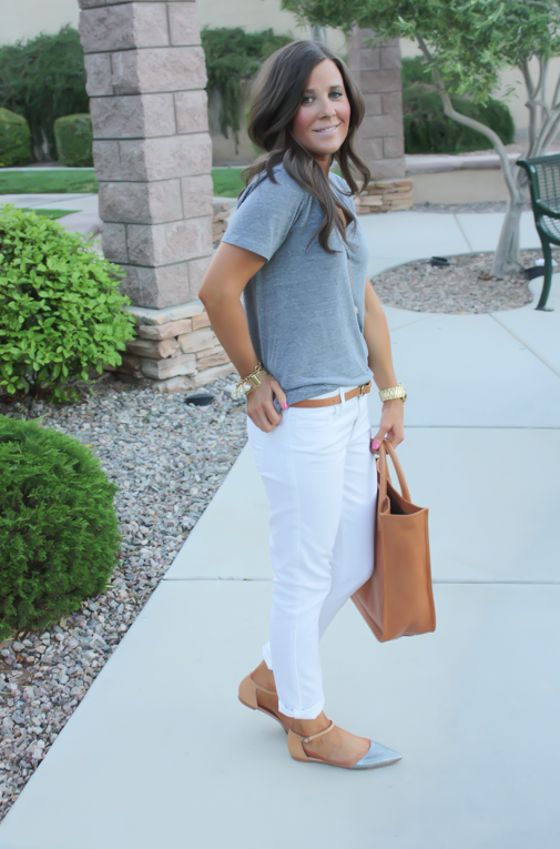 White Skinny Jeans, Relaxed Grey Tee, Flats, Madewell 14