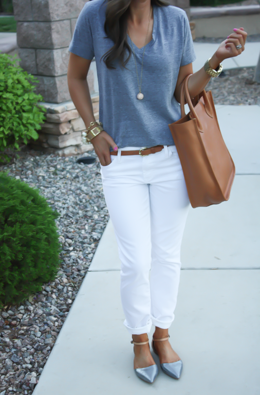 White Skinny Jeans, Relaxed Grey Tee, Flats, Madewell 17