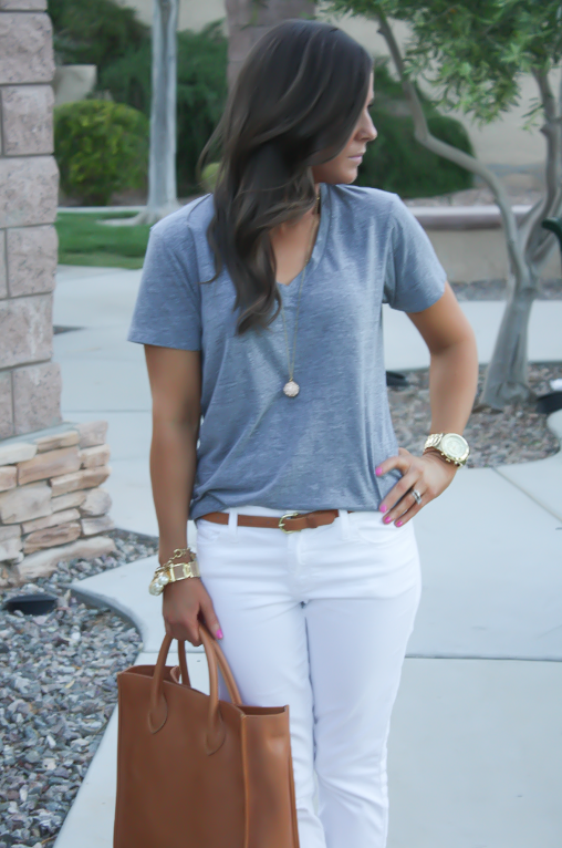 White Skinny Jeans, Relaxed Grey Tee, Flats, Madewell 20