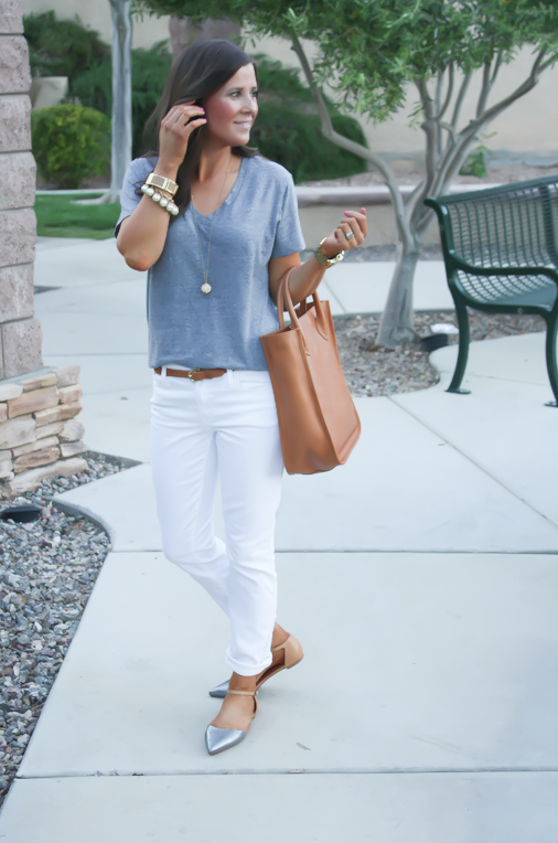 White Skinny Jeans, Relaxed Grey Tee, Flats, Madewell
