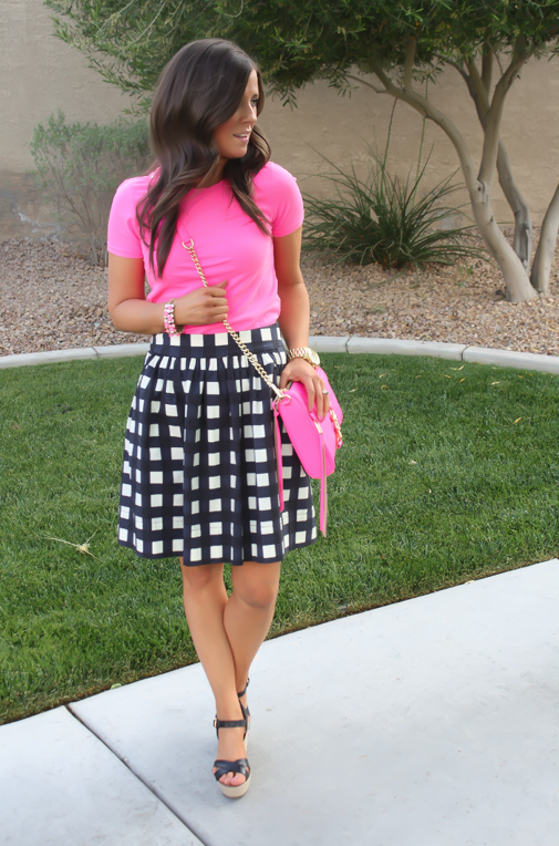 Navy Gingham + Bright Pink
