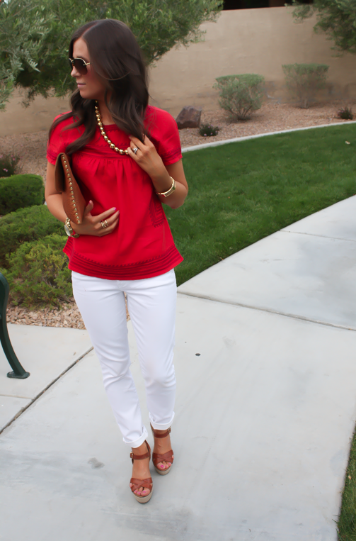 Red Linen Blouse, White Skinny Jeans, Wedge Sandals, Madewell, Banana Republic, J.Crew 7
