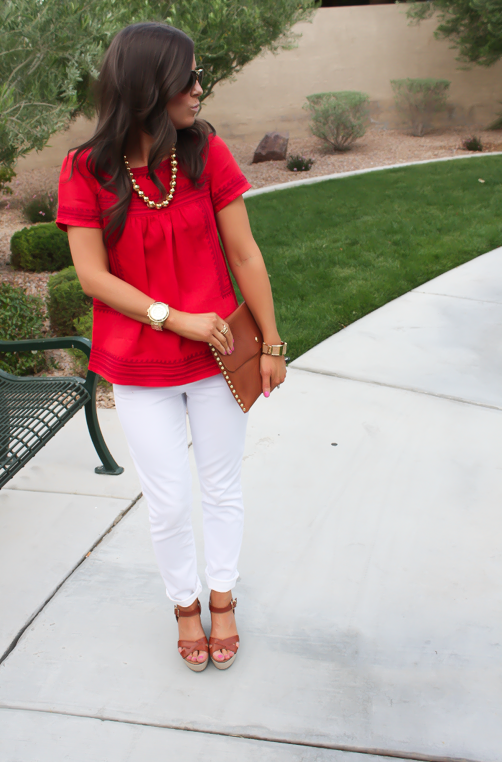 Red Linen Blouse, White Skinny Jeans, Wedge Sandals, Madewell, Banana Republic, J.Crew 9