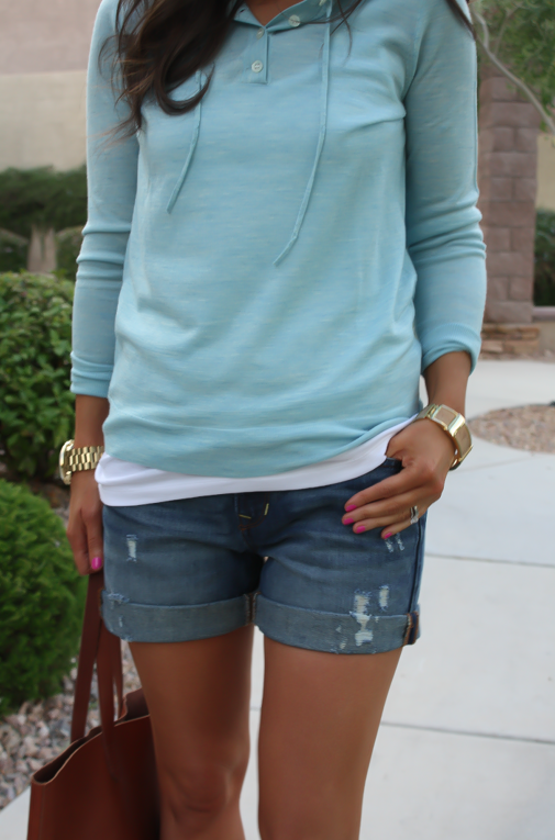 Summer Sweater, Distressed Denim Shorts, Cognac Tote, Vachetta Wedge Sandals, Summer Style, J.Crew, Gap, Madewell, Michael Kors  12