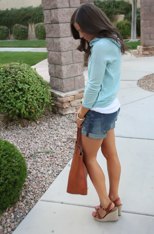 Summer Sweater, Distressed Denim Shorts, Cognac Tote, Vachetta Wedge Sandals, Summer Style, J.Crew, Gap, Madewell, Michael Kors  3