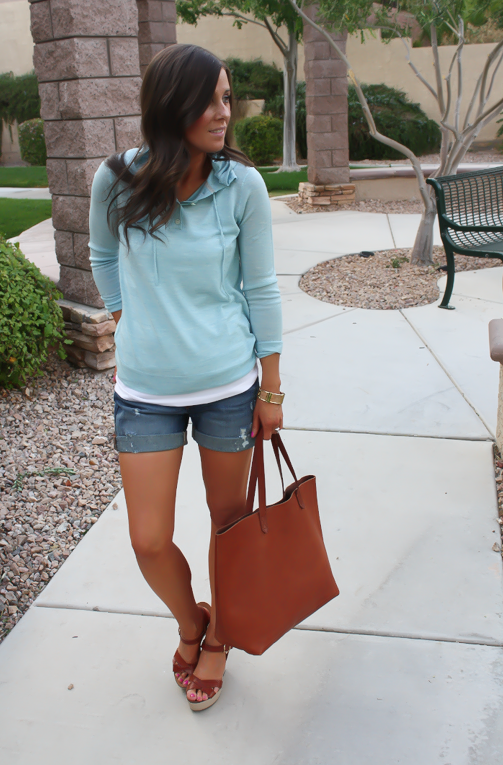 Summer Sweater, Distressed Denim Shorts, Cognac Tote, Vachetta Wedge Sandals, Summer Style, J.Crew, Gap, Madewell, Michael Kors  5