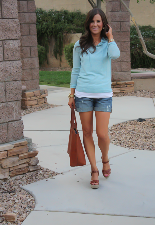 Summer Sweater, Distressed Denim Shorts, Cognac Tote, Vachetta Wedge Sandals, Summer Style, J.Crew, Gap, Madewell, Michael Kors  9