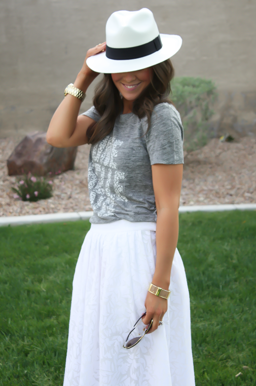White Patio Skirt, Grey Graphic Tee, Espadrille Sandals, Panama Hat, J.Crew, Ray Ban 10
