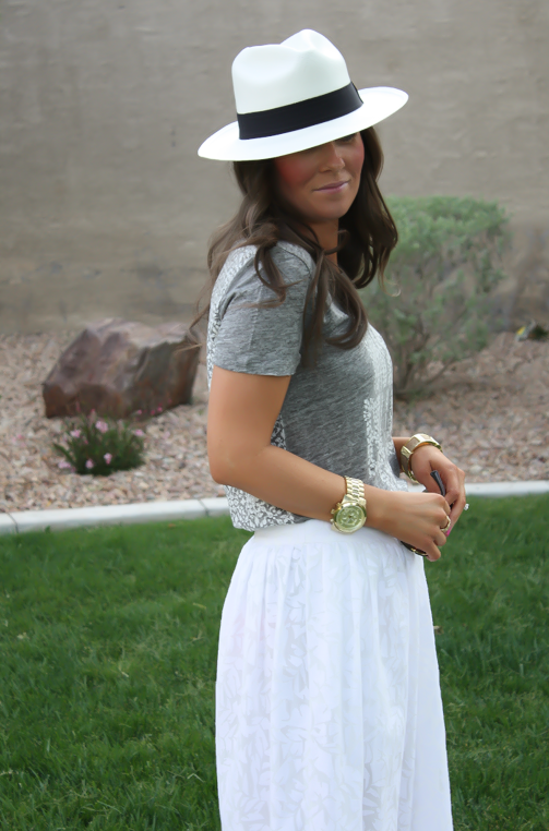 White Patio Skirt, Grey Graphic Tee, Espadrille Sandals, Panama Hat, J.Crew, Ray Ban 11