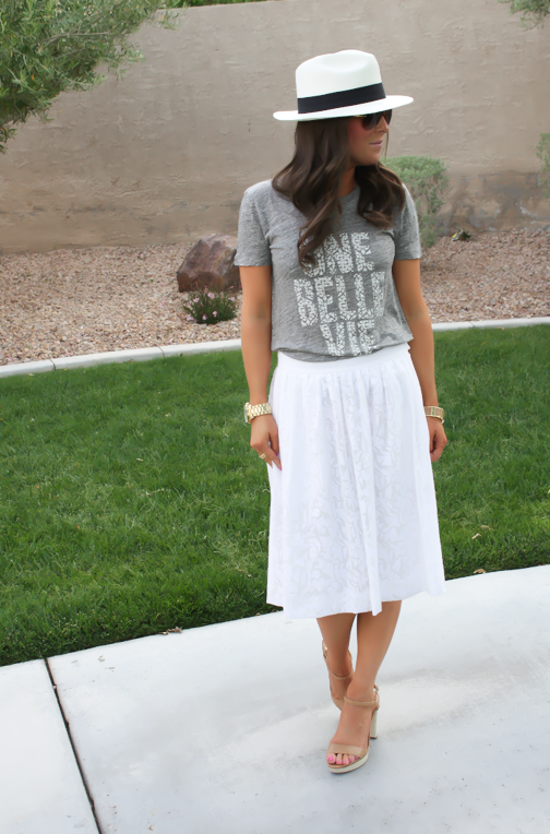 White Patio Skirt, Grey Graphic Tee, Espadrille Sandals, Panama Hat, J.Crew, Ray Ban 14