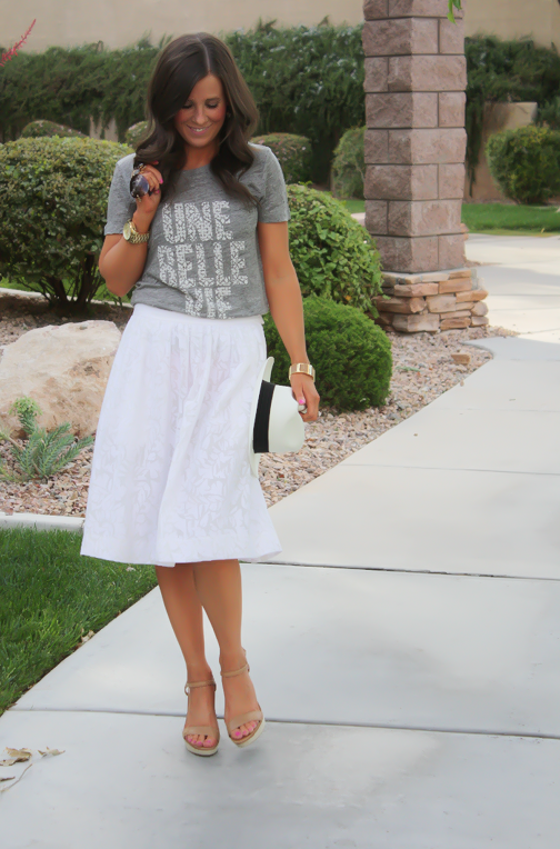 White Patio Skirt, Grey Graphic Tee, Espadrille Sandals, Panama Hat, J.Crew, Ray Ban 17