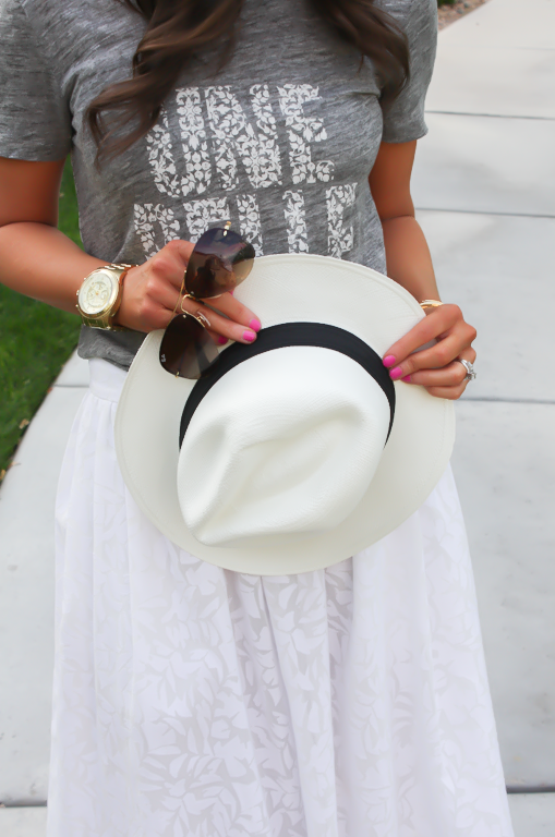 White Patio Skirt, Grey Graphic Tee, Espadrille Sandals, Panama Hat, J.Crew, Ray Ban 18
