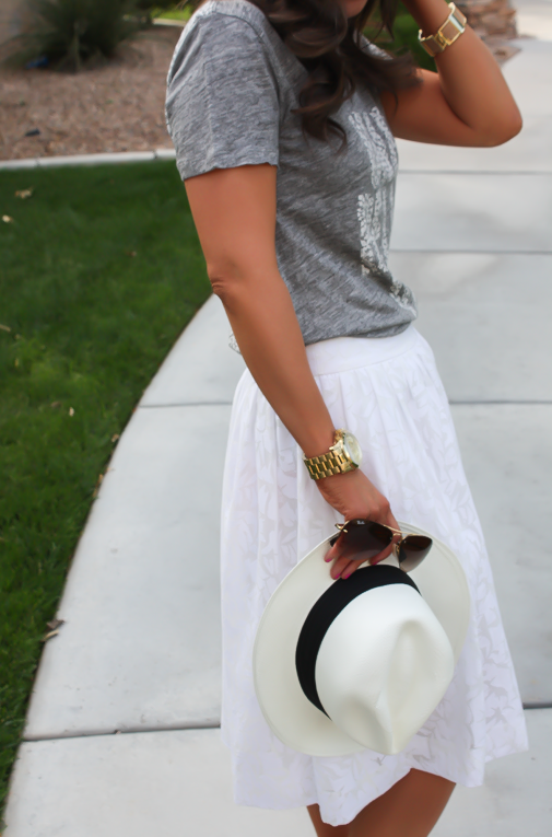 White Patio Skirt, Grey Graphic Tee, Espadrille Sandals, Panama Hat, J.Crew, Ray Ban 20