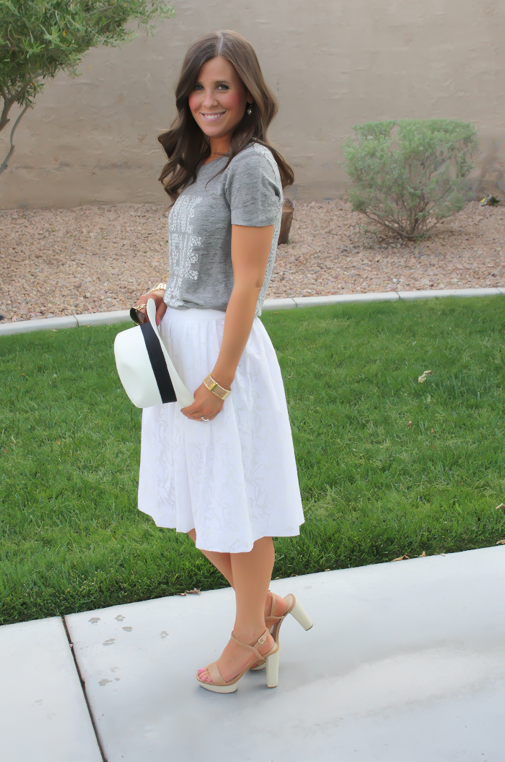 White Patio Skirt, Grey Graphic Tee, Espadrille Sandals, Panama Hat, J.Crew, Ray Ban 3