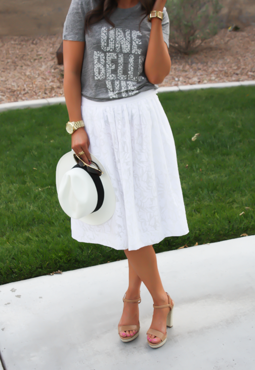 White Patio Skirt, Grey Graphic Tee, Espadrille Sandals, Panama Hat, J.Crew, Ray Ban 8