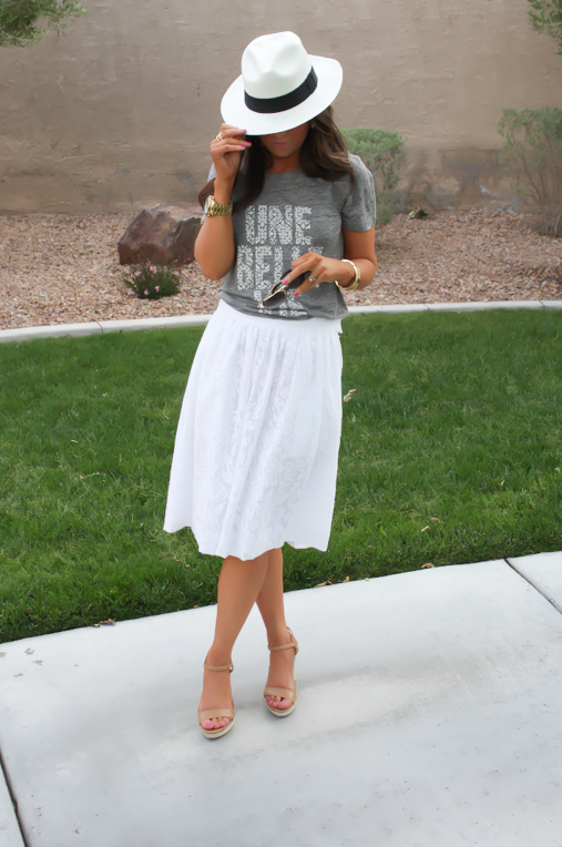 White Patio Skirt, Grey Graphic Tee, Espadrille Sandals, Panama Hat, J.Crew, Ray Ban 9