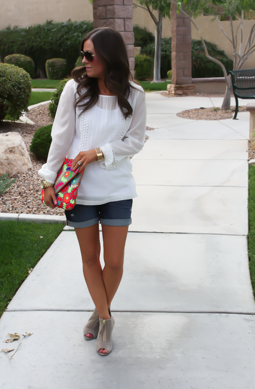 White Peasant Blouse, Denim Shorts, Suede Peep Toe Booties, Floral Clutch, Gap, Loft, Paul Green, Nordstrom 10
